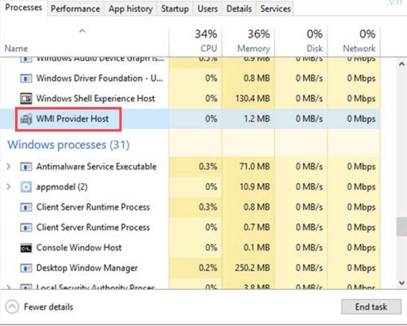 tìm các tiến trìnhWMI Provider Host đang chạy