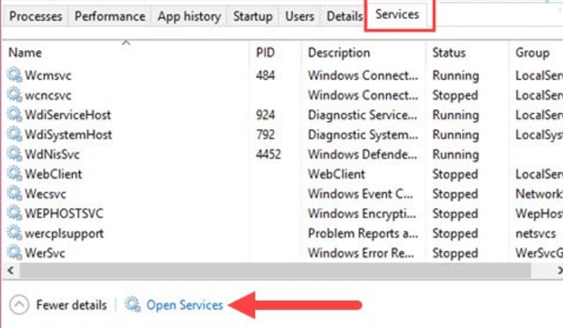 Chuyển qua tab Services