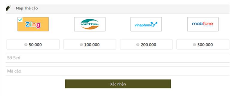 giao diện chính của trang web thanh toán